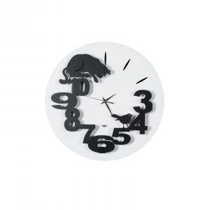 orologio da parete con gatto in agguato